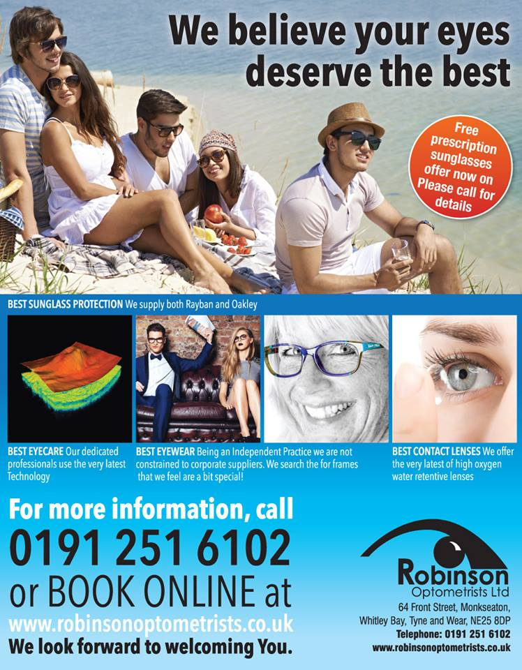 Free Prescription Sunglasses offer is now on at Robinson Optometrists, Monkseaton.