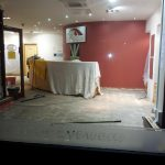Robinson Optometrists, interior view of premises with flood damage